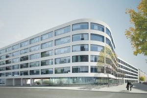 Sanierung eines Bürogebäudes in München mit Pfosten-Riegelfassade