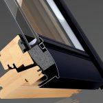 Die VELUX ThermoTechnologyTM: Zusätzliche Dämmelemente aus expandiertem Polysterol im Fensterflügel und Blendrahmen optimieren die Wärmedämmung.
