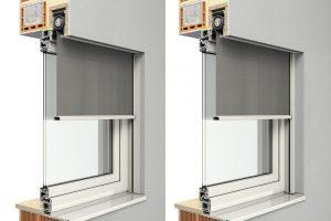 Für sehr schmale Schächte geeignet: Der Zip-Screen.S von Roma ist bereits ab einer Tiefe von 100 Millimetern einsetzbar. Damit erweitert der Hersteller sein Angebot an Einbauvarianten bei dem textilen Sonnenschutz. Das Bild zeigt zwei mögliche Einbauvaria