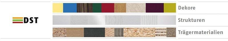 Im DST-System von Pfleiderer lässt sich jedes Dekor mit den passenden Strukturen und den technisch geeigneten Trägermaterialien für nahezu alle Anwendungen und Wünsche im Innenausbau beliebig kombinieren.