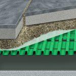 AquaDrain T+ stelzt den Belag zu 100 % auf. So entsteht ein drainfähiger Hohlraum von 90 % – Sickerwasser kann schnell abfließen.