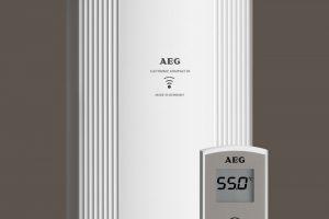 Ob druckfeste oder drucklose Betriebsweise: Der neue elektronische AEG Durchlauferhitzer DDLE 13 Kompakt stellt sofort Warmwasser bis 60°C zur Verfügung – mit hoher Leistungsstärke und ohne Energieverluste. Er beansprucht außerdem äußerst wenig Platz und