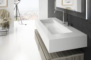 """Silestone-Waschbecken """"Reflection"""" in der Farbe Blanco Zeus"""