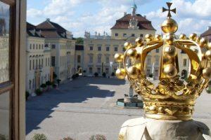 Blick auf den Schlosshof im Residenzschloss Ludwigsburg.