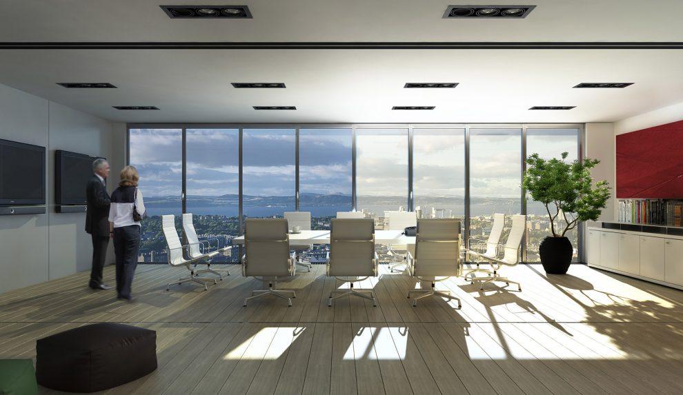 Das dimmbare Glas ECONTROL bietet Sonnenschutz, Verschattung und jede Menge Tageslicht. Es sorgt so für ein ganzjährig angenehmes Raumklima.