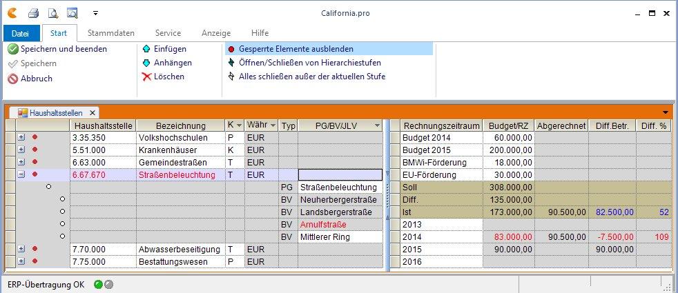 Projektübergreifende Aufteilung des Budgets