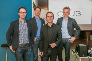 Mit der Roadshow auf Deutschlandtour: Rainer Machner (Ecophon), Christoph Eisenack (Philips), Stefan Kiss (Haworth) und Bernd Fels (if5.org). (v.r.n.l.)