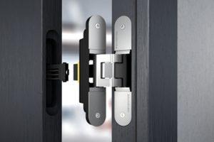 Verdeckt liegendes Bandsystem TECTUS für flächen-bündige Raumkonzepte mit gefälzten und ungefälzten Türen.
