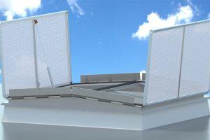 Das RWA-System LAMILUX CI-System Rauchlift TWIN verfügt als Einzelelement für das Flachdach über die beeindruckende Rauchaustrittsfläche (Ageo) von 9 m².
