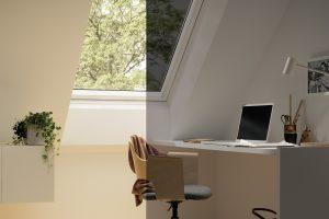 Während es bei normaler Verglasung unter dem Dach schon mal warm werden kann oder die Sonne auf dem Bildschirm blendet, verhindert elektrochrome Verglasung ein Aufheizen der Räume und schließt blendendes Sonnenlicht aus.