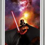"""Die vier Dekore der """"Star Wars & VELUX Galactic Night Collection"""" zeigen Darth Vader, den Todesstern, Kylo Ren und die drei Droiden R2-D2, C-3PO und BB-8 (von links nach rechts)."""
