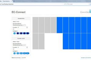 Das Bedienelement EC-Connect bildet die Struktur der Gebäudeverglasung grafisch ab. So kann der Nutzer komfortabel und unkompliziert die gewünschten Fensterelemente anwählen und dimmen (links ungedimmt, rechts gedimmt).