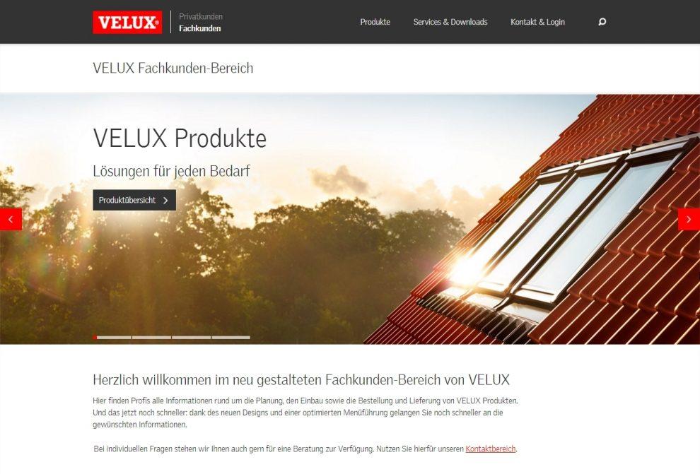 Die neue Fachkunden-Website von Velux setzt auf eine nach Themen gegliederte Navigation und ist für die Nutzung auf mobilen Endgeräten optimiert.