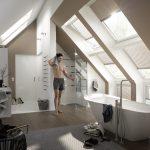 Holzboden, entspannende Farben und natürliches Sonnenlicht. In einem so gestalteten Dachraum wird die Dusche zum Spa-Erlebnis.