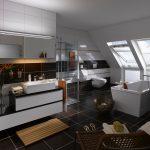 Die großen Klapp-Schwing-Fenster leiten in Kombination mit dem bis zum Boden reichenden senkrechten Zusatzelement viel Sonnenlicht in dieses edle Dach-Badezimmer. Ungewollte Einblicke hingegen werden durch die leichtgängigen und stufenlos positionierbaren