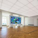 Bei den Lichtdecken kann die Lichtfarbe der LEDs mittels Tunable- White-Technologie im Bereich von 2.700K – 6.500K unterschiedlichen Bedürfnissen angepasst werden. Abb.: Veranstaltungsraum mit Medienwand;
