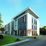 Weiße Putzflächen, graue Fassadenplatten und farbige Sichtschutz-Elemente vor den Energiesparfenstern Schüco Corona SI 82 tragen zu einer lebendigen, individuellen Fassadengestaltung bei.