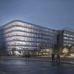 Der mit einer eleganten Fassade vorgesehene Schüco Neubau ist über fünf Stockwerke mit der bestehenden Unternehmenszentrale verbunden. Es entsteht eine gläserne Brücke über die im Zuge des Neubaus verlängerte Schücostraße.