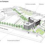 Der Schüco Neubau, mit einer Geschossfläche von 7.200 Quadratmeter, fügt sich harmonisch in den großflächigen Campus der Unternehmenszentrale ein.