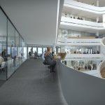 Der vom renommierten Kopenhagener Architekturbüro 3XN geplante Schüco Neubau verfolgt den Anspruch einer modernen kommunikationsfördernden Büroorganisation, die Raum für unterschiedliche Arbeitsformen und Möglichkeiten der spontanen Begegnungen bietet.