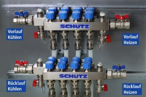 Der Anschluss erfolgt primärseitig im 4-Leitersystem. Heiz- sowie kühlseitige Vor- und Rücklaufanschlüsse sind links – bzw. rechtsseitig für eine gute thermische Isolation des Heiz- und Kühlkreislaufs angeordnet.