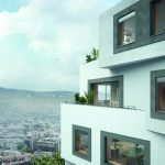 Außenansicht des horizontal flächenbündig montierten Schüco Lüftungssystems VentoLife: Durch den unauffälligen Einbau in Fenster- und Fassadensysteme wird die Architektur des Gebäudes erhalten.