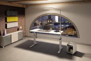 Ein hochwertiges geschlossenes System: Der Sitz-Steh-Tisch light4it von CEKA mit integrierter Leuchte Force One von Nimbus