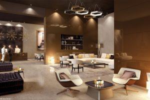 Eine Wandbekleidung mit Designglas, hier Lacobel Copper Metal, sorgt für professionelle Interi-eurgestaltung, zum Beispiel in der Hotellerie.