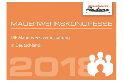 Schlagmann Akademie: Mauerwerkskongresse 2018 in Ulm und München