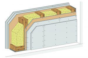 """Bester Brand- und Schallschutz im Holzbau: Mit dem neuen System """"HW13RF"""" stellt Rigips erstmals eine """"Brandwand"""" für den Holzbau vor. Das zugehörige AbP bescheinigt dem Sys-tem eine Feuerwiderstandsdauer von 90 Minuten. Darüber hinaus können Schalldämmwer"""