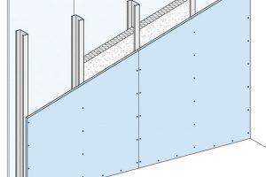 Eine typische Trockenbaukonstruktion von Knauf: gedämmte Metallständerwand als Einfachständerwerk, einlagig beplankt mit Gipskartonplatten.