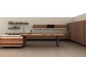 """""""LA CUCINA""""- Küchenkonzept mit Zukunft Die Kücheninstallation des Designers Matteo Thun ist größtenteils in American Red Oak gestaltet, einige Elemente bestehen aus American Walnut. Behaglichkeit und Wärme sind die bestimmenden Elemente in dem visionären"""