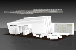 In Halle B6 auf dem Stand 311 präsentierte der Bodenspezialist seine Produktpalette vor und unter einem überdimensionalen Fächer – komplett in Weiß.