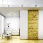 Edles Holz in modernster Architektur von ComTür. Zarge FLAT-VD raumhoch mit Türblatt Eiche horizontal antikmatt gebeizt mit Drücker Quadro-Solo.