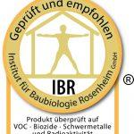 Das Prüfsiegel des Instituts für Baubiologie Rosenheim IBR erhalten Produkte und Produktionsverfahren, die den Anforderungen der Wohngesundheit und des Umweltschutzes gerecht werden.