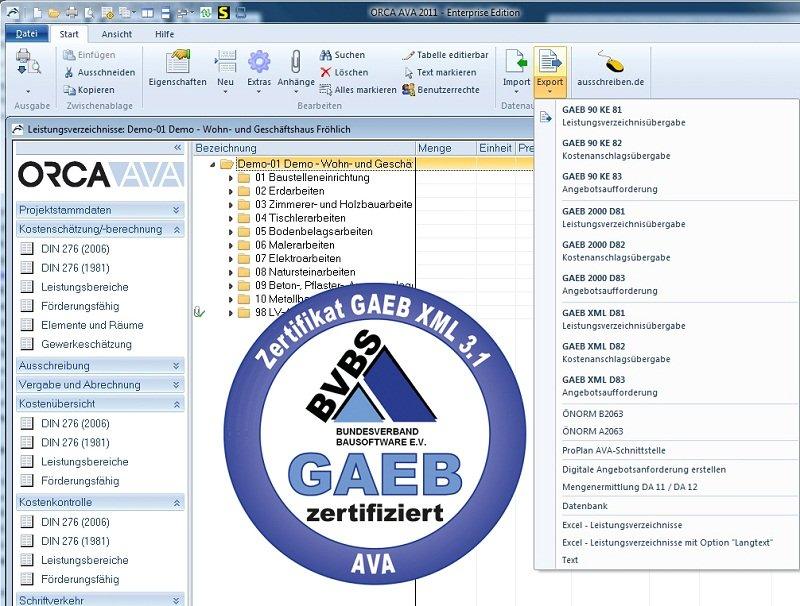 ORCA AVA 2012 mit GAEB DA XML Version 3.1 Prüfsiegel
