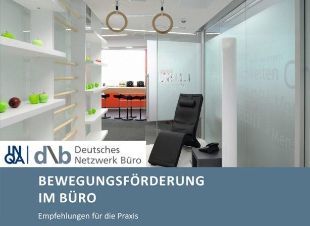 Cover Bewegungsförderung im Büro.   Bild: DNB e.V.