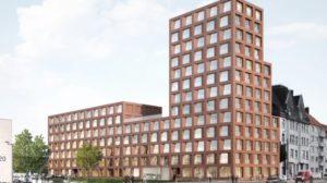 Das Studentenwohnheim in Hannover-Hainholz, das gerade gebaut wird, markiert den nordwestlichen Abschluss eines gemischten Wohnquartiers und definiert architektonisch die städtebauliche Kante am Übergang von Stadt zu Peripherie.