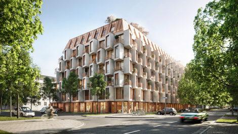 Wohnbauprojekt Van B in München von UNStudio und Bauwerk, Außenansicht