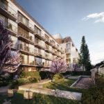 Wohnbauprojekt Van B in München von UNStudio und Bauwerk, Hofansicht