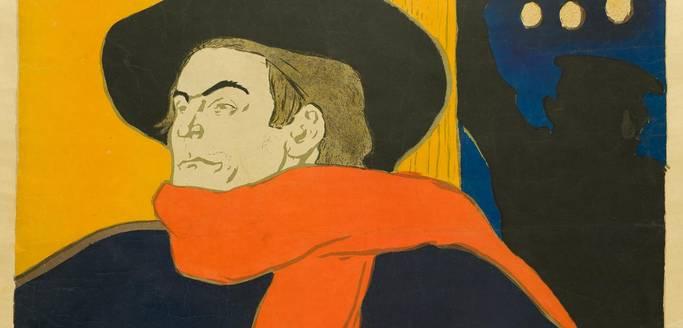 Henri de Toulouse-Lautrec (1864–1901), Ambassadeurs – Aristide Bruant dans son cabaret (Detail), 1892, Farblithografie, 138 x 96,5 cm, MKG, Public Domain