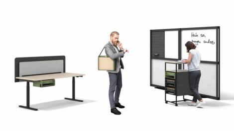 Arbeitsplatz mit Neo Box, Fleischer Büromöbel