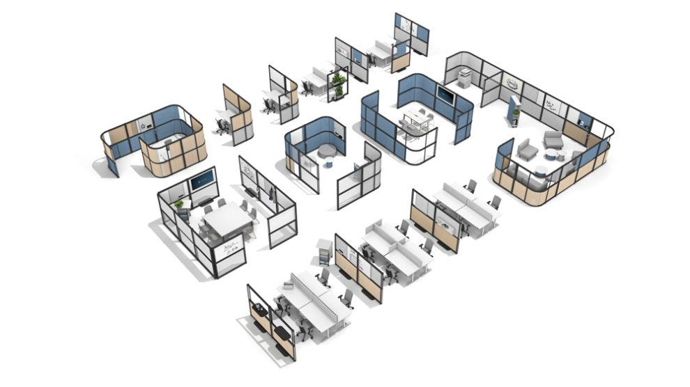 Trennwandsystem Open Wall Aufsicht, Fleischer Büromöbelwerk